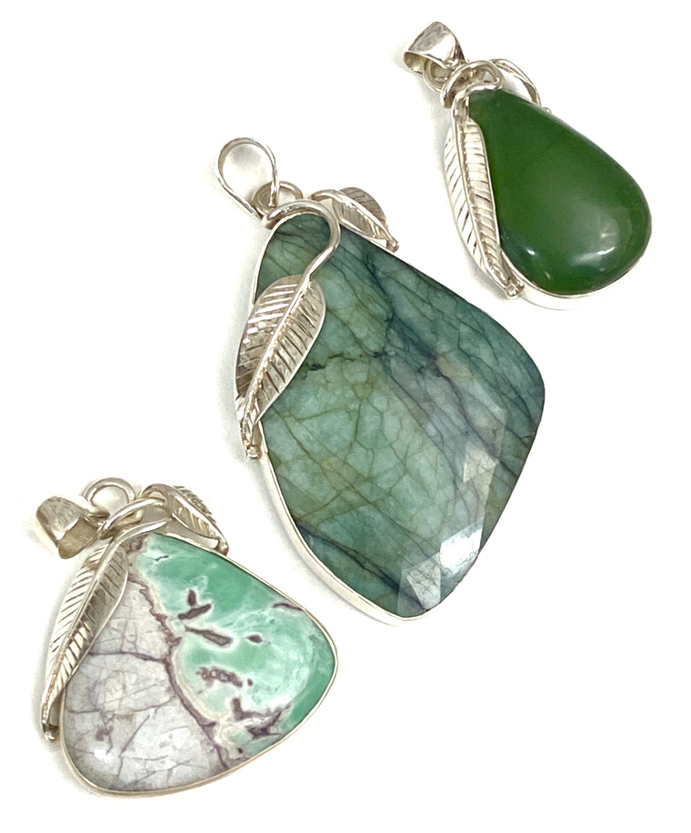 Sterling Silver Leaf Pendants - Available in Emerald, Jade & Variscite