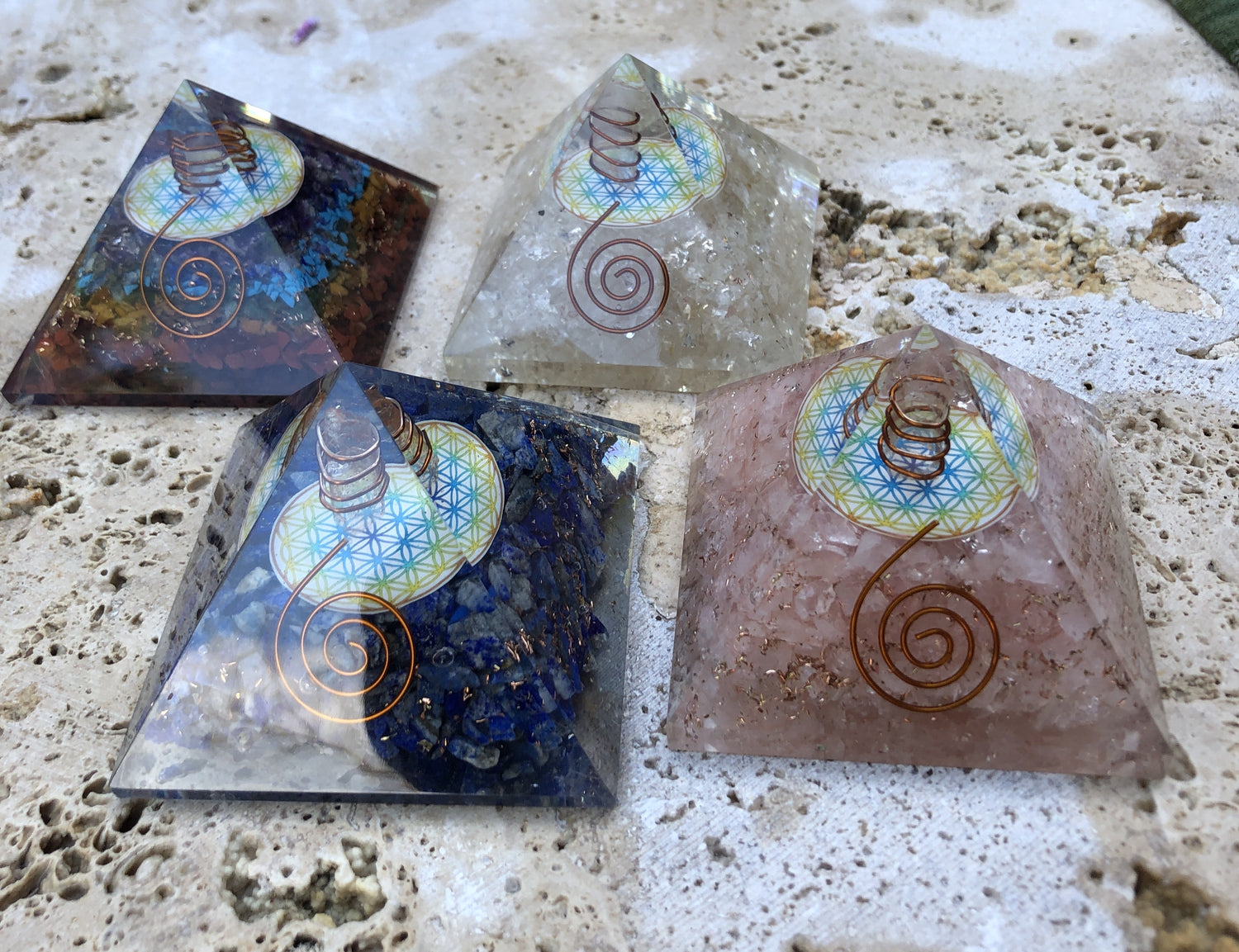 Orgonite Pyramids - 5 Stones available 7cm
