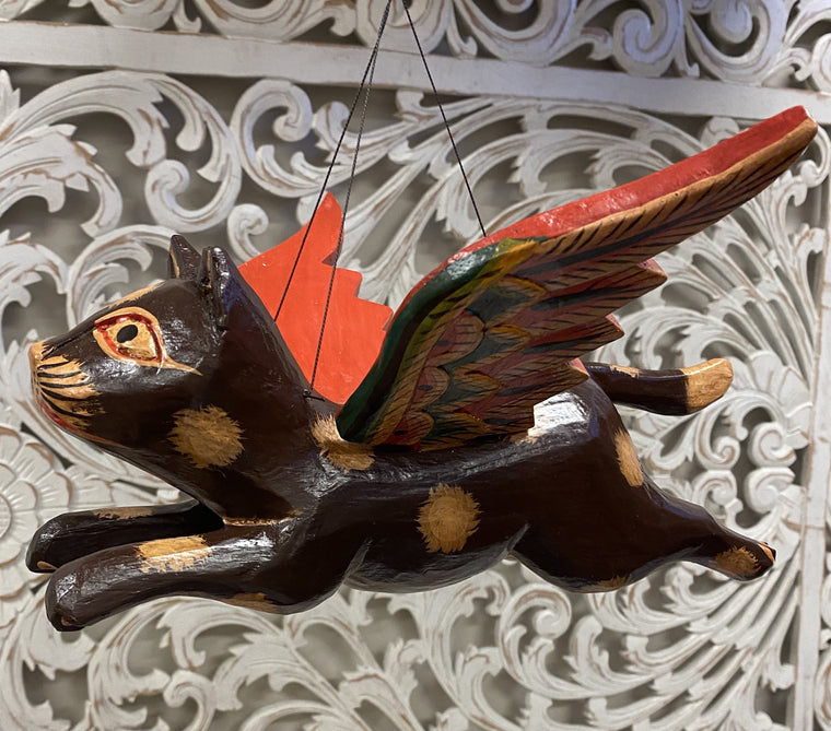 Hand Carved Flying Kitty Spirit chaser Brown & Tan Spotted