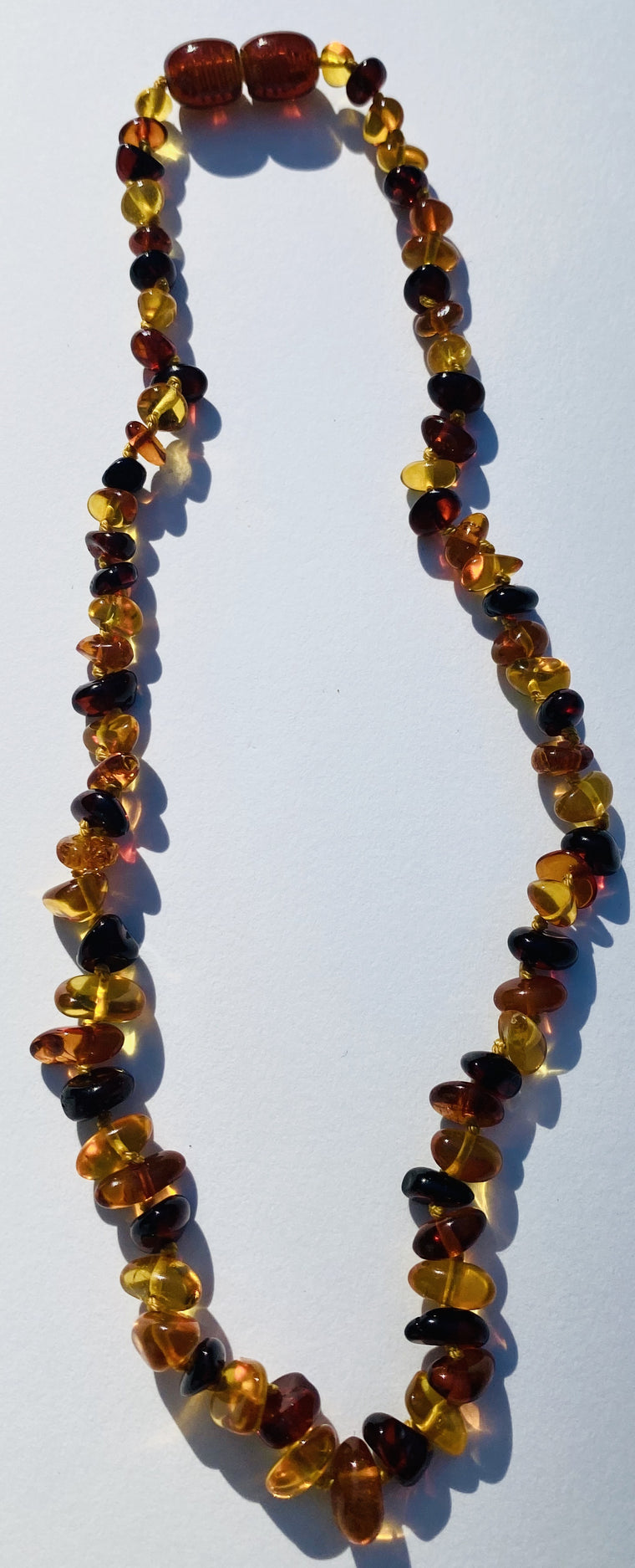 Hand Knotted Amber Baby Teething Necklaces Multi Color  Chips