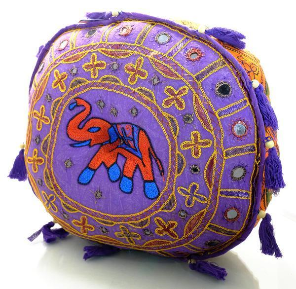 Hand Made Embroidered Rajasthani Elephant Floor Pillows