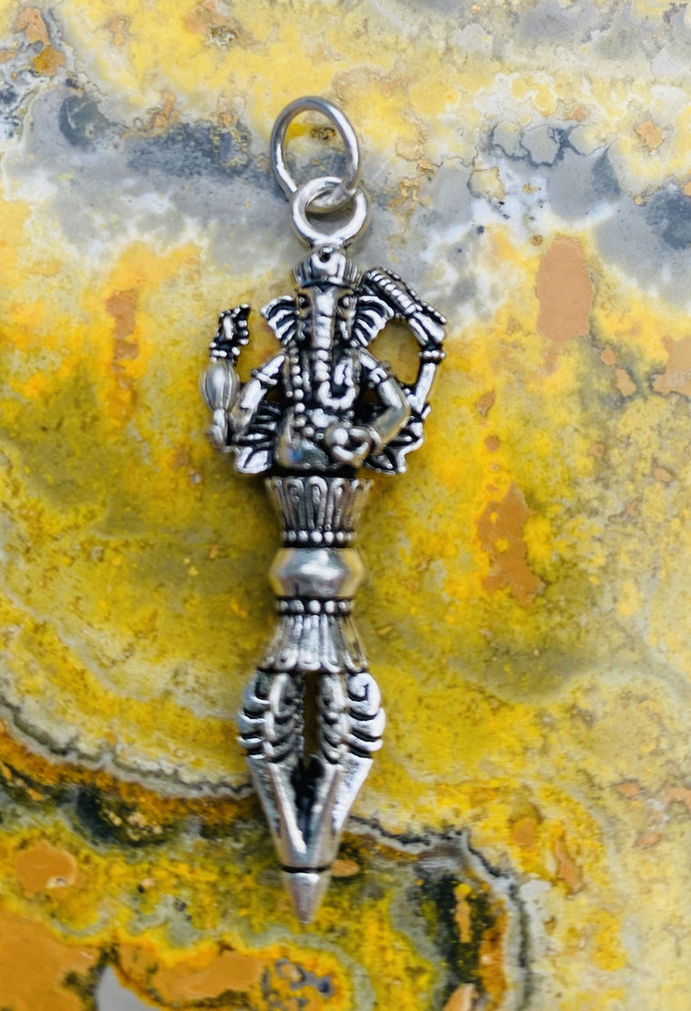 Sterling Silver Dorje Pendant with Ganesh from Nepal