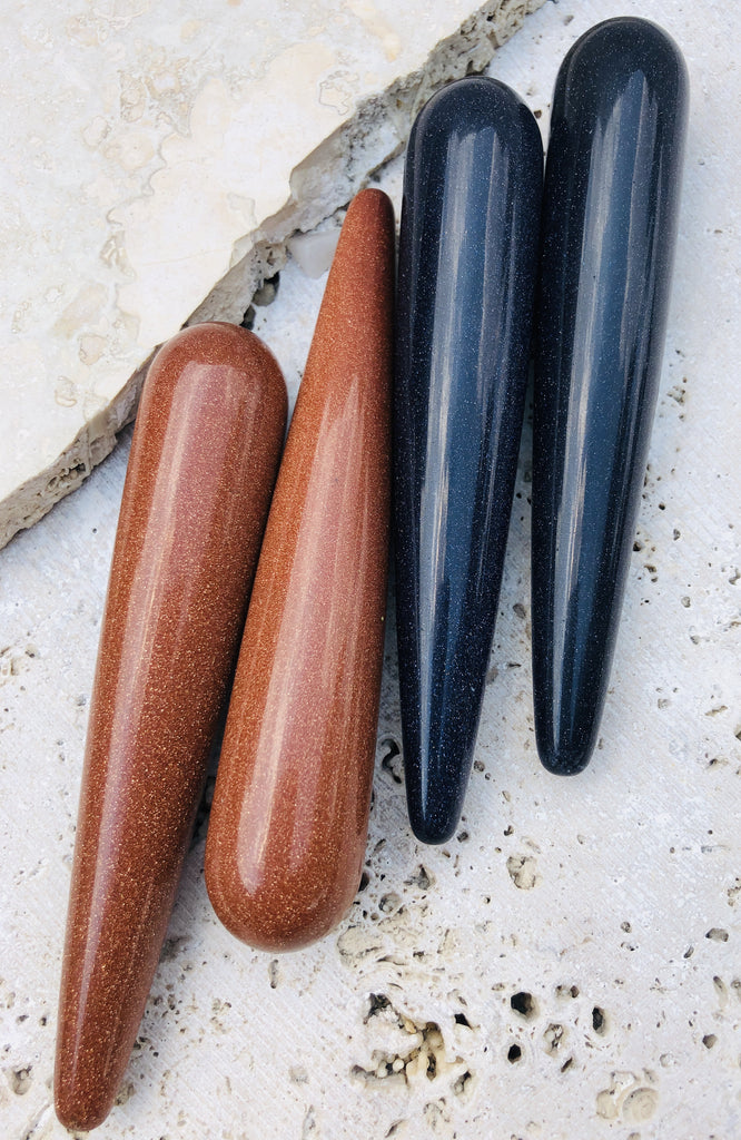 Goldstone & Blue Goldstone Massage wands