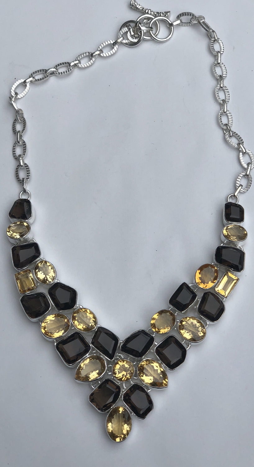 Sterling Silver (925) Faceted Citrine and Smokey Quartz  Necklace