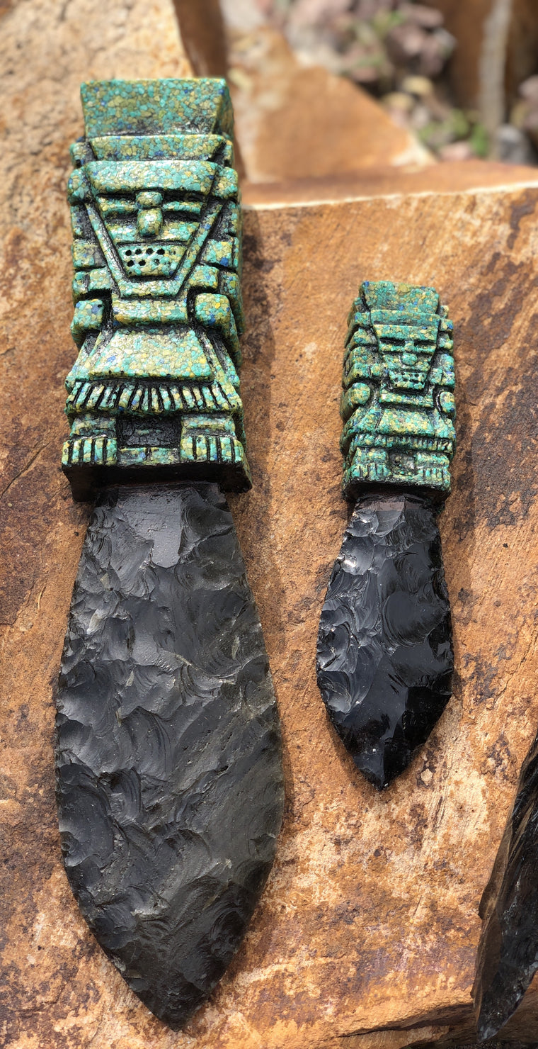 Aztec Tlalche Obsidian Knives- Warrior