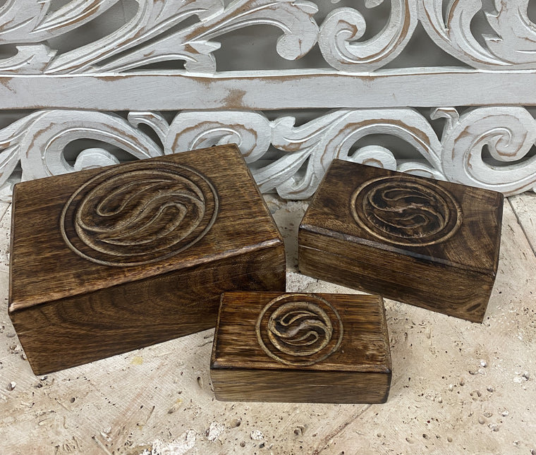 Set of Three Hand Carved Mango Wooden Boxes with Yin & Yang
