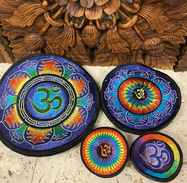 Handmade Rainbow Om Mandala Embroidered Patches from Nepal
