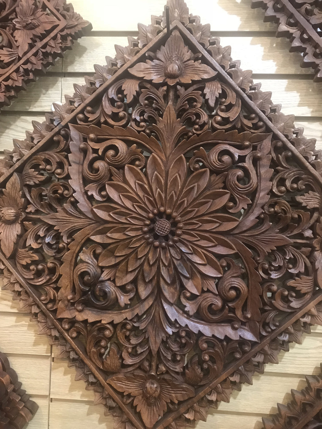 Hand Carved Lotus Flowers Mandala wall hanging Square 20""