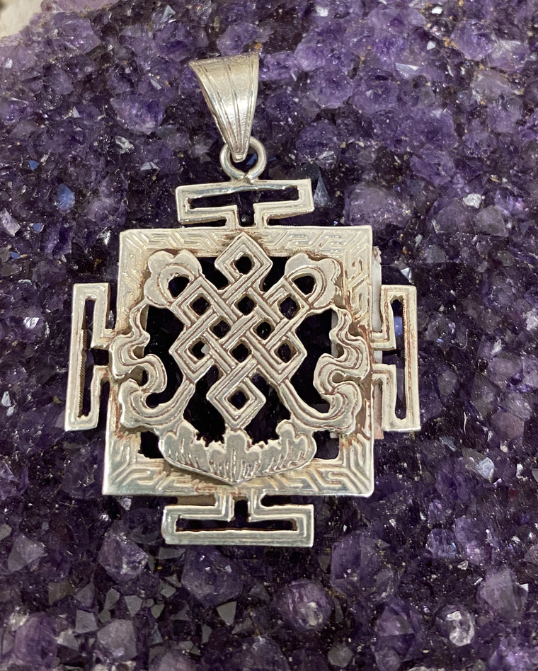 Hand Etched Sterling Silver Nepalese Endless Knot Pendant