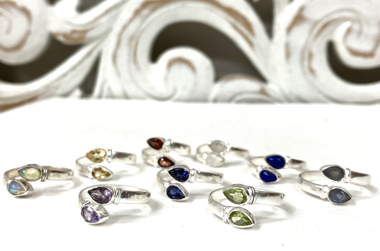 Sterling Silver Double Teardrop Wrap ring - Available in 9 Stones