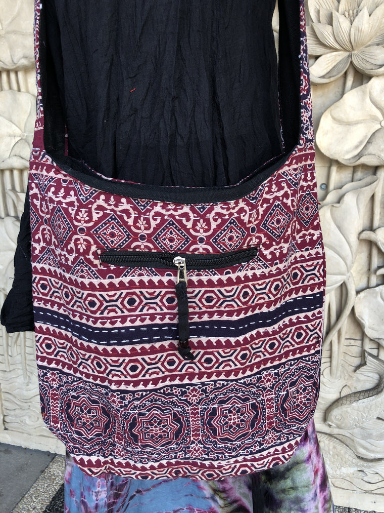 Hand Sewn Kantha Rajasthani Cotton print  Shoulder Bag Purse