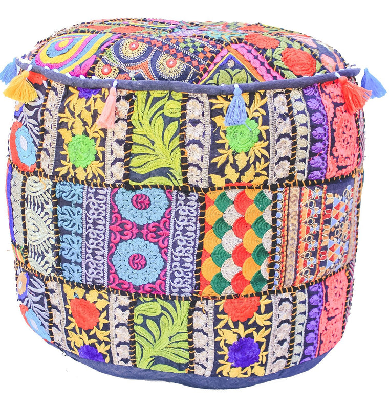 Large Embroidered Rajasthani Patchwork Floor Pillow / Ottoman