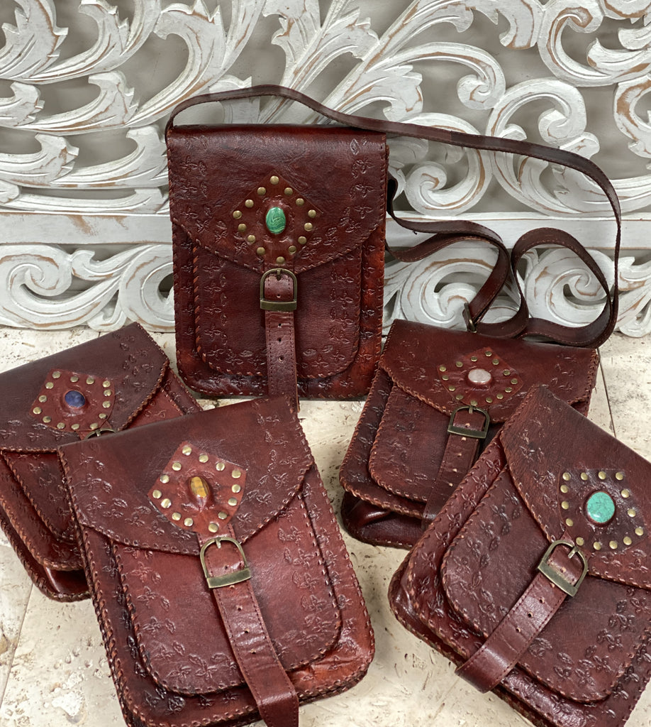 "Hand Made Camel Leather purse with Gemstones 3 Pockets! 9"" x 7"""
