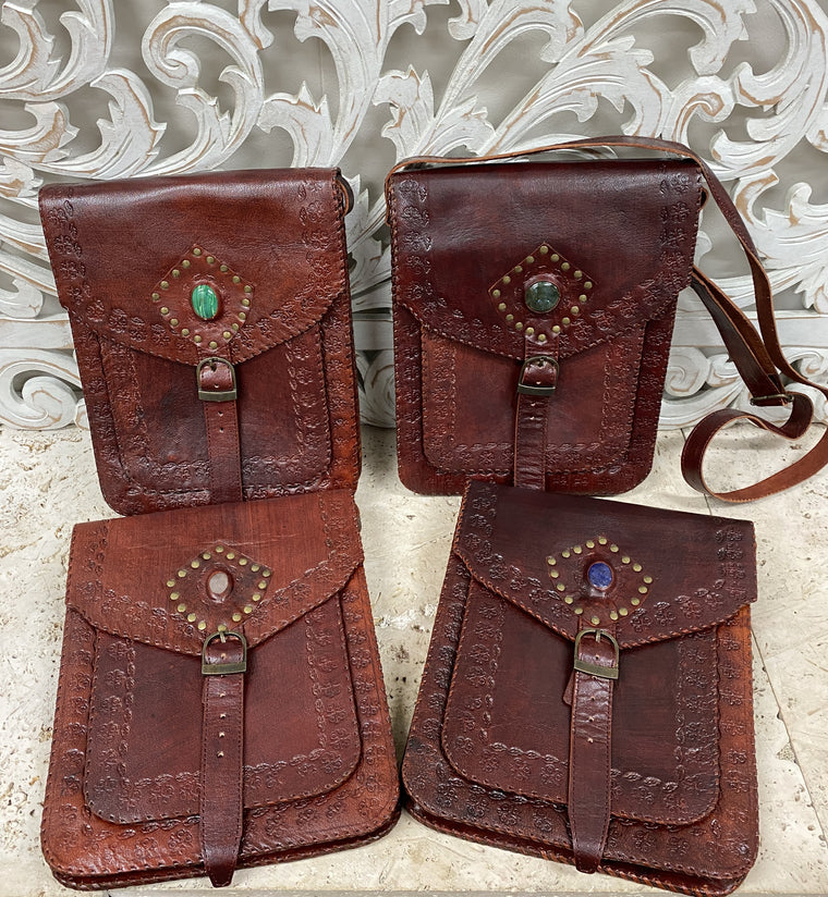 Hand Made Camel Leather purse with Gemstones 4 Pockets! 11