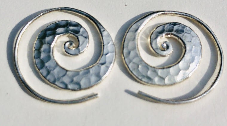Sterling Silver Thai Hill Tribe Flat Hammered Spiral Earrings