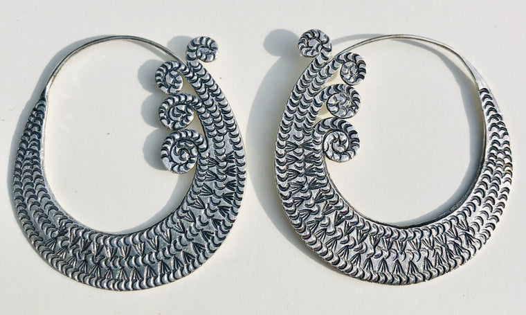 Sterling Silver Thai Hill Tribe Spiral Earrings Xl