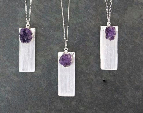 Selenite Pendant with Amethyst Cluster