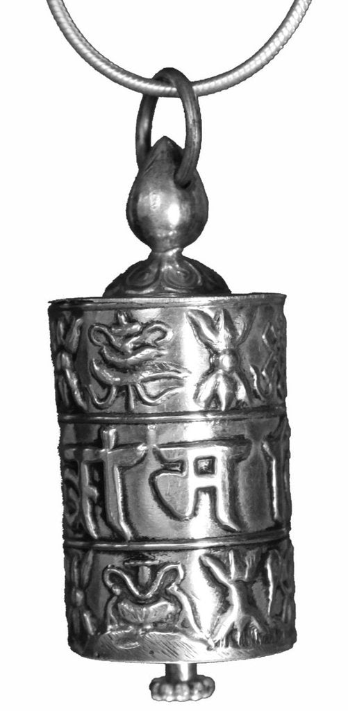 Tibetan Prayer Wheel Pendant with Mantras Inside!