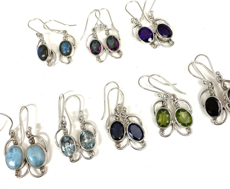 Sterling Silver Gemstone Earrings - Available in 8 Stones