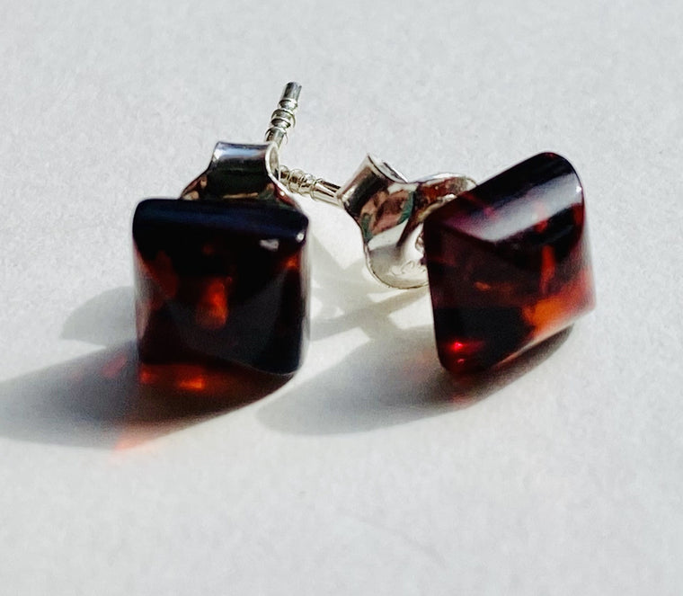 Sterling Silver Amber Stud Earrings Square 5mm