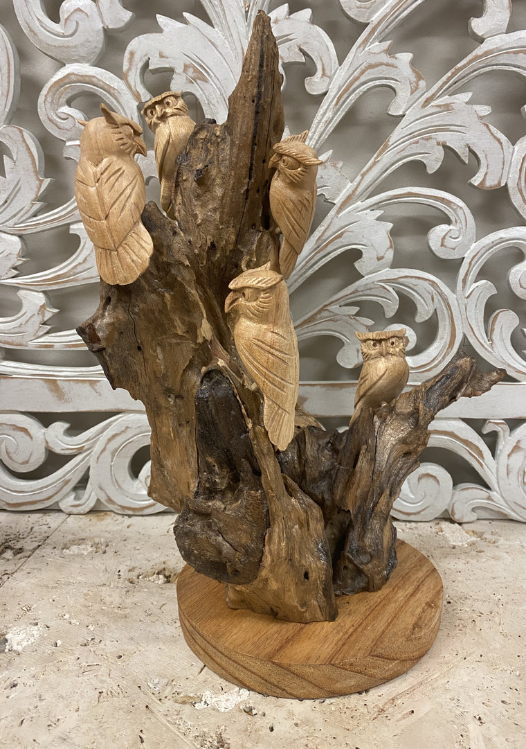 Parasite Wood Owl Family Carving