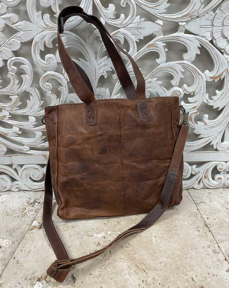 Large Hand Made Camel Leather Bag with Hand Stitching 12