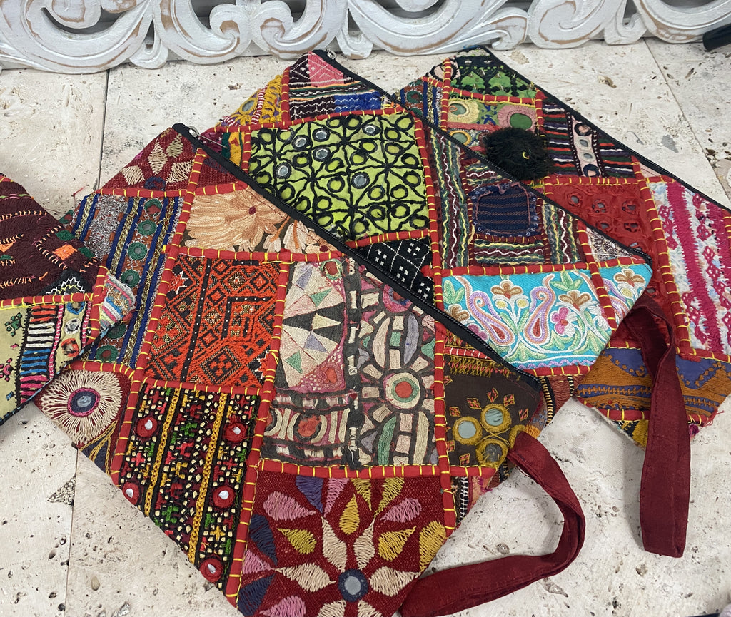 Large size Recycled Hand Embroidered Antique Rajasthani Zipper bags Great for art supplies or makeup!