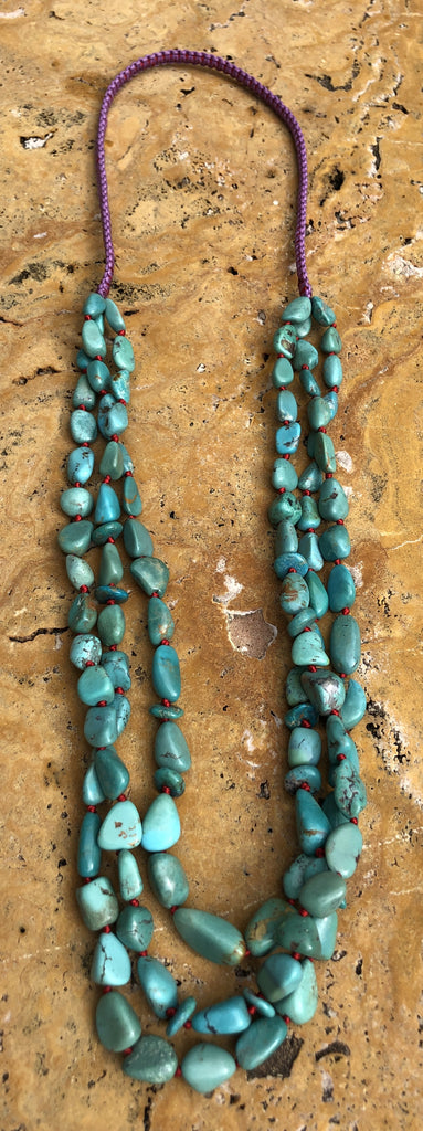 "Triple Strand 32"" Hand Knotted Natural Turquoise Nugget Necklace"