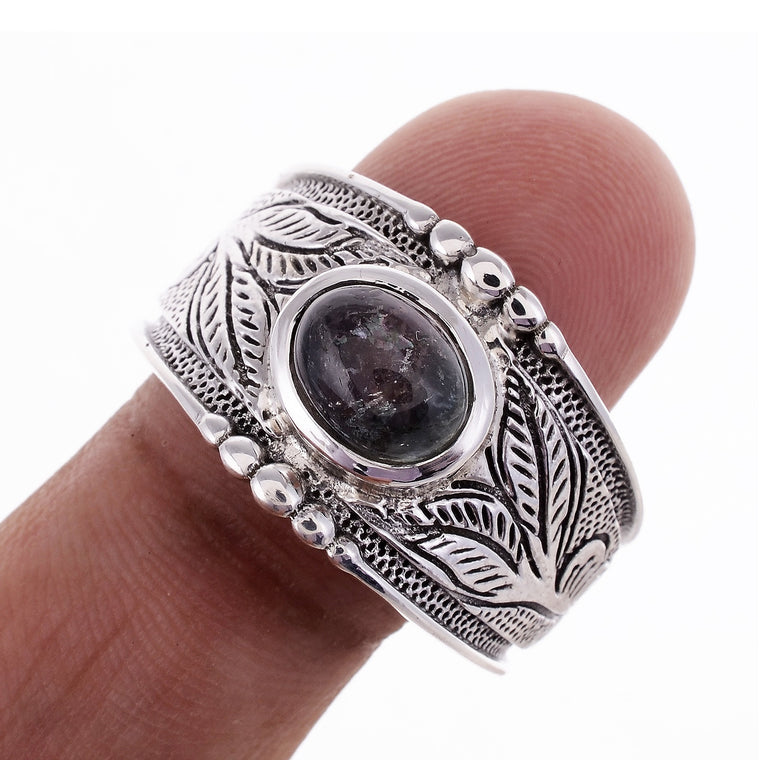 Sterling Silver Hand Carved Gemstone Ring - Available in 14 stones Up to Size 14!