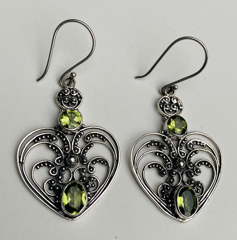 Handmade Sterling Silver Balinese Filligree Earrings - Peridot or Amethyst