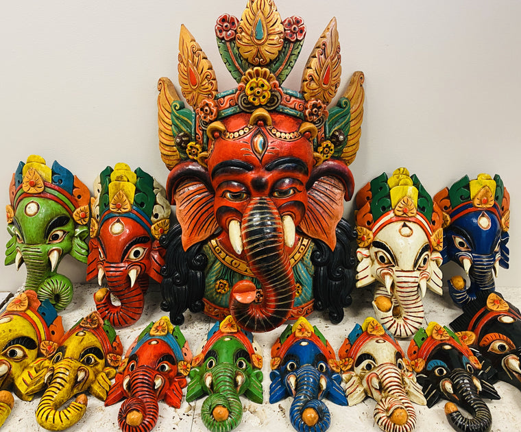 Hand Carved and Painted Ganesh Masks from Nepal - Available in 3 Sizes