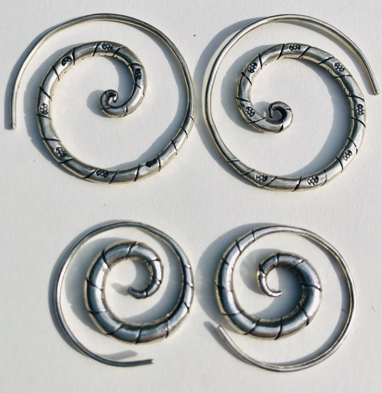 Sterling Silver Thai Hill Tribe Stripe Spiral Earrings