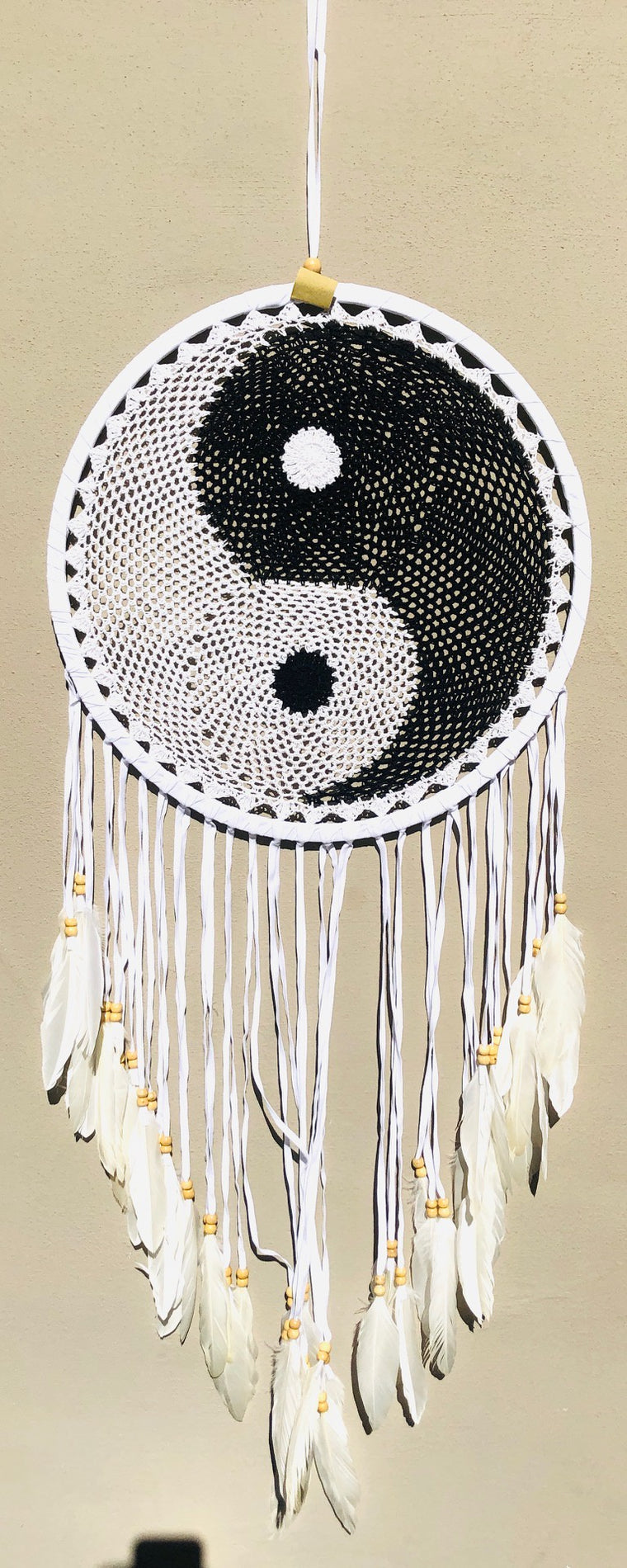 Crochet Yin & Yang Dream Catchers with Swan Feathers Long Fringe