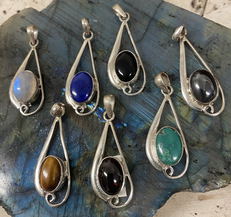 Sterling Silver Pendants from Nepal - Available in 7 stones