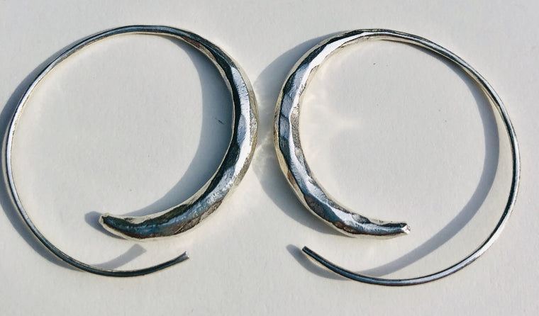 Sterling Silver Thai Hill Tribe Hammered Spiral Earrings