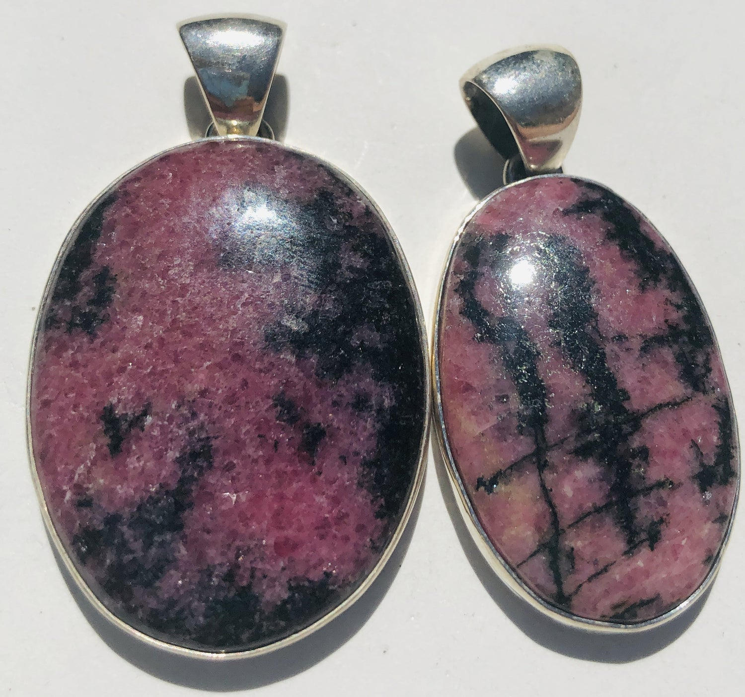 Sterling Silver Rhodonite  Pendants