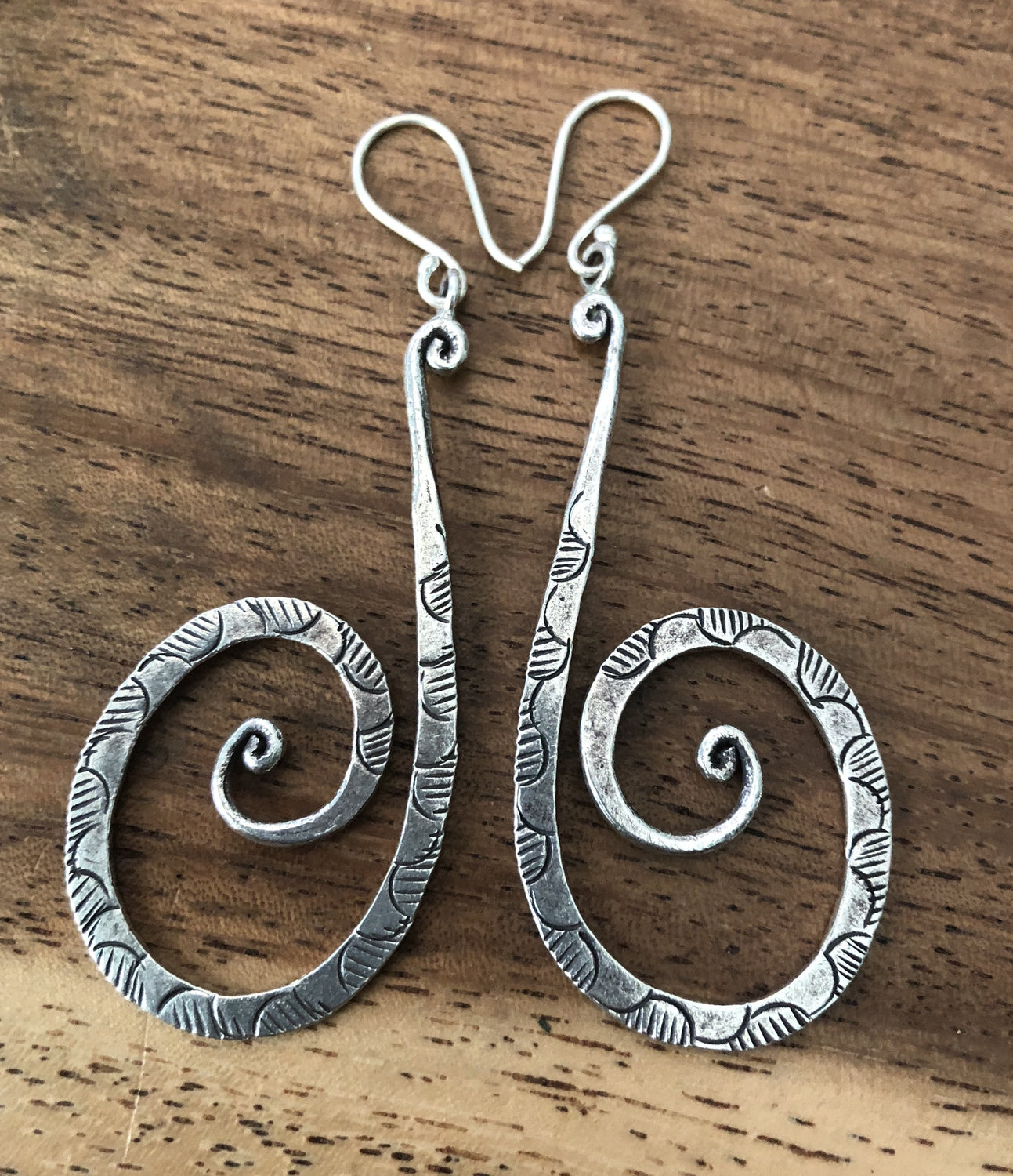 Handmade Sterling Silver Thai Hilltribe Long Spiral Earrings