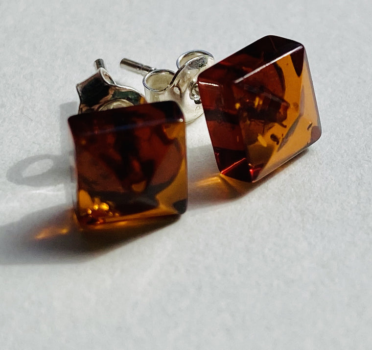 Sterling Silver Amber Stud Earrings Square 8mm