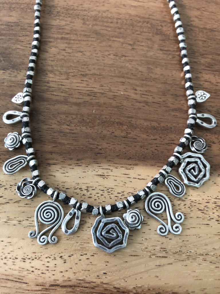 Sterling SIlver Handmade Spiral Thai Hill Tribe Necklace 18""""