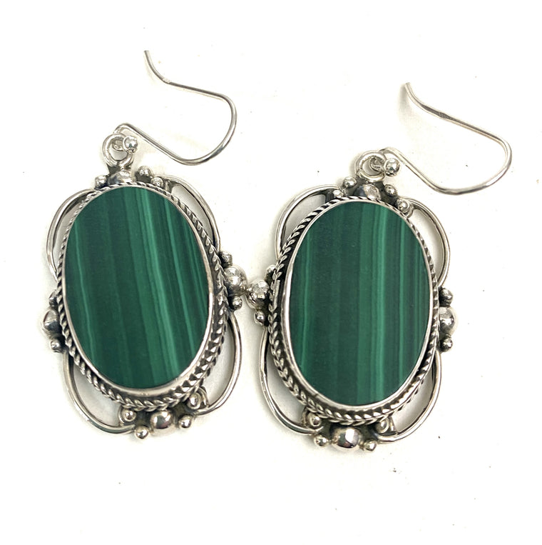 Sterling Silver Victorian Mirror Gemstone Earrings Large- Available in 13 Stones
