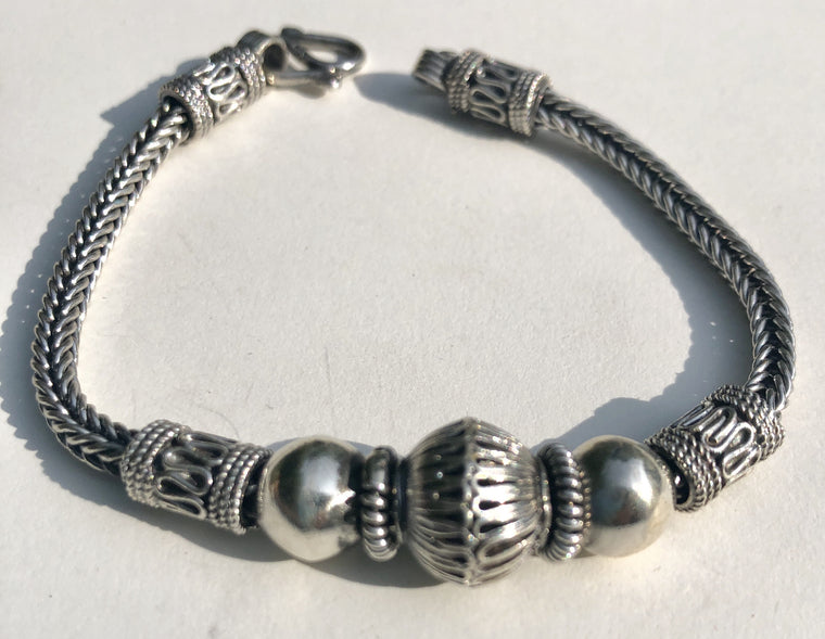 Sterling Silver Bali Chain and Bead Bracelet