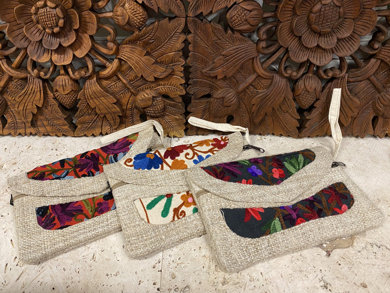 100% Hemp pouch with Kashmiri Embroidery 9