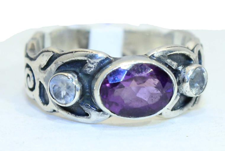 Sterling Silver Spiral Gemstone Ring — Avaliable in 6 stones