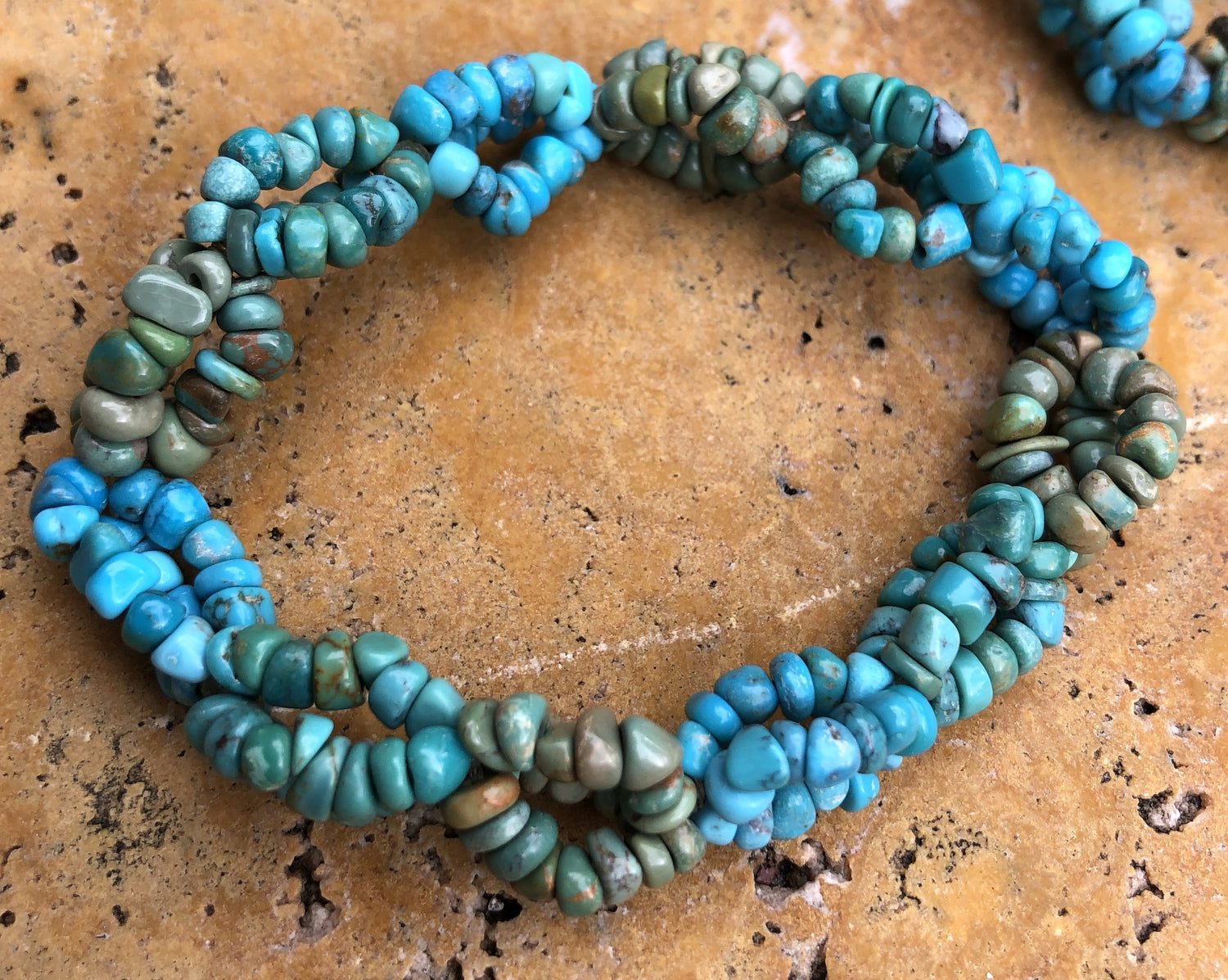 Tri Color Natural Turquoise Three strand woven chip bracelets