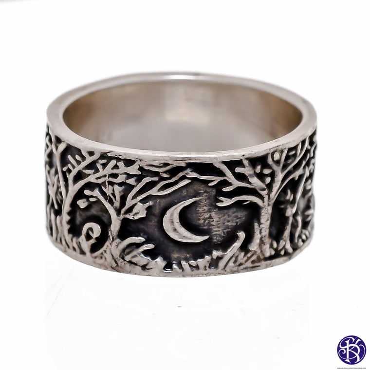 Sterling Silver Wood Forest Rings (925) Mens Sizes