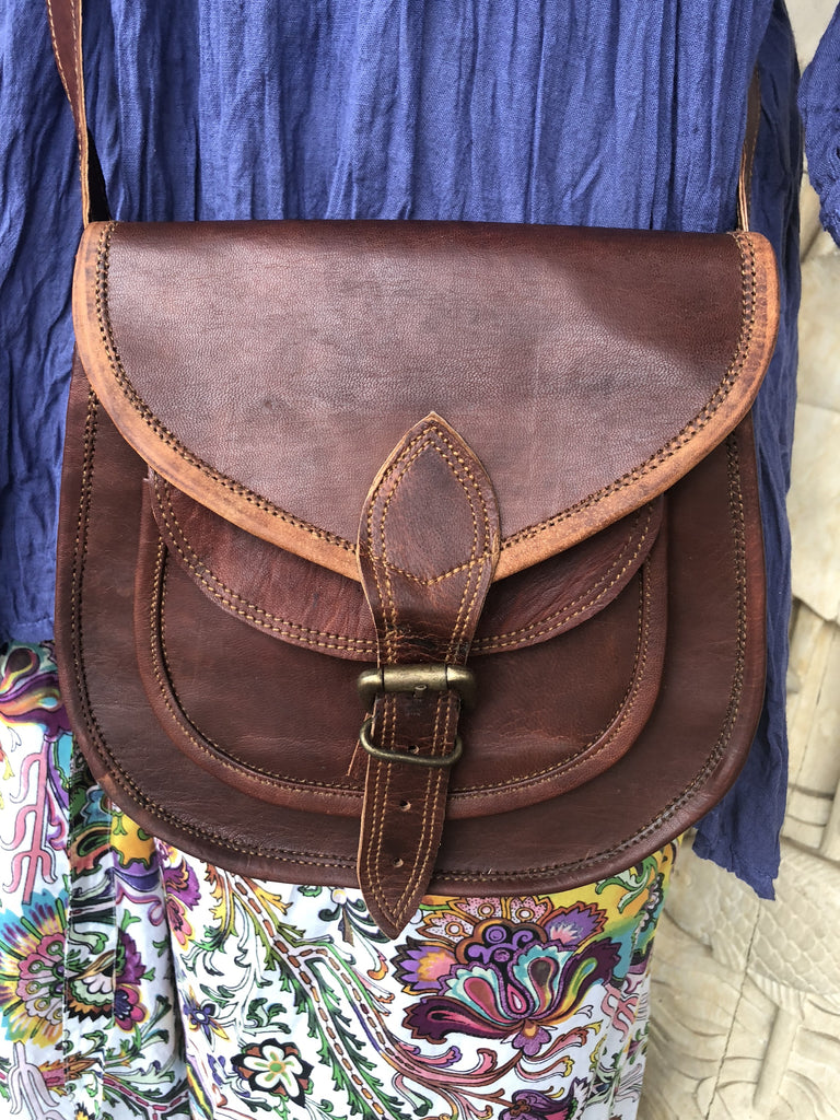 "Hand Made Camel Leather Mini Round bottom purse 9"" x 7"" buckle"