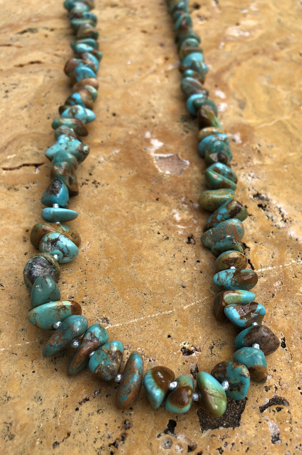 "36"" Hand Knotted Natural Turquoise X Large Chip Necklace"