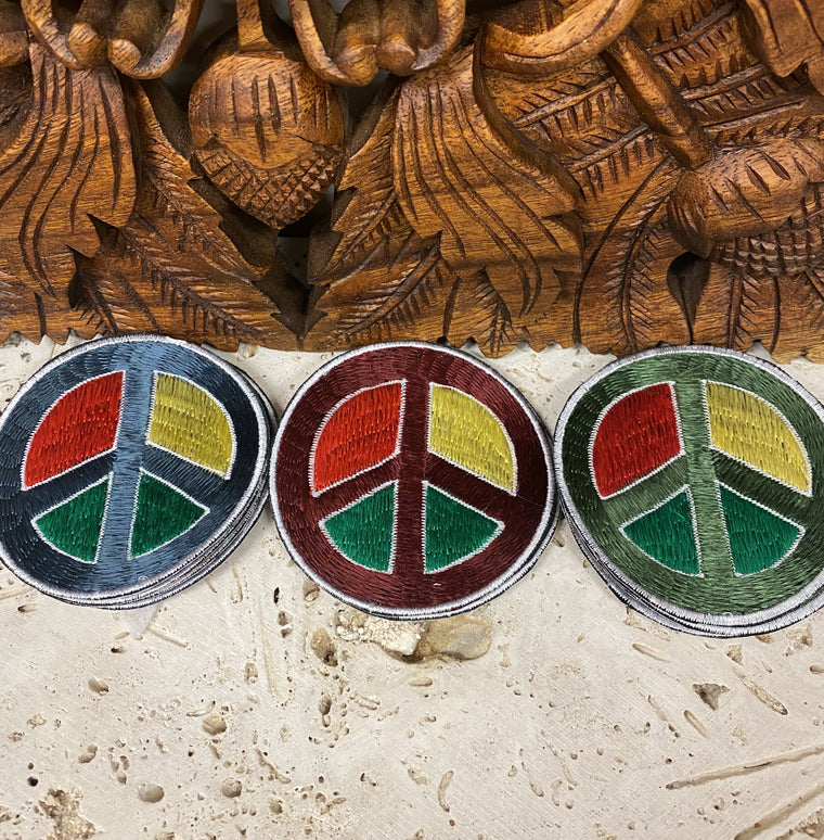 Handmade Embroidered Rasta Peace sign Patches from Nepal 3