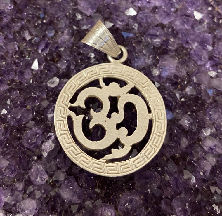 Hand Etched Sterling Silver Nepalese Om Pendant