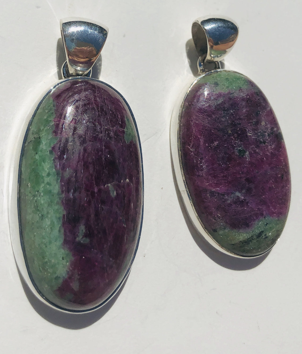Sterling Silver Large Oval Ruby Fuchsite Pendant
